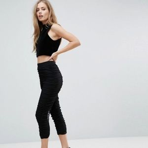 NEW ASOS BLACK RUCHED LEGGINGS